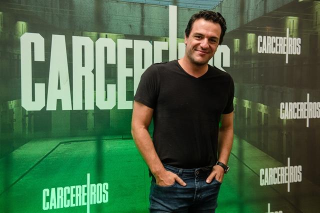 Rodrigo Lombardi na coletiva de Carcereiros (Foto: Globo/Gustavo Scatena)