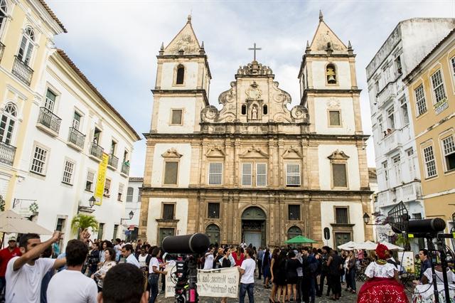 Gravação de Segundo Sol na Igreja de São Francisco, no Pelourinho (Foto: Globo/João Cotta)