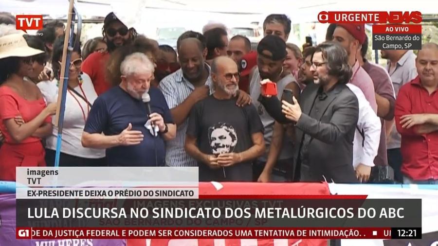Ator Osmar Prado discursa ao lado de Lula e do amigo Aílton Graça (Foto: Reprodução)