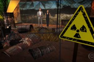 Artes visuais invadiram cenário do Fantástico; assunto era a data de 30 anos do Césio 137, mais grave acidente radioativo do país (Foto: Reprodução/Globo)