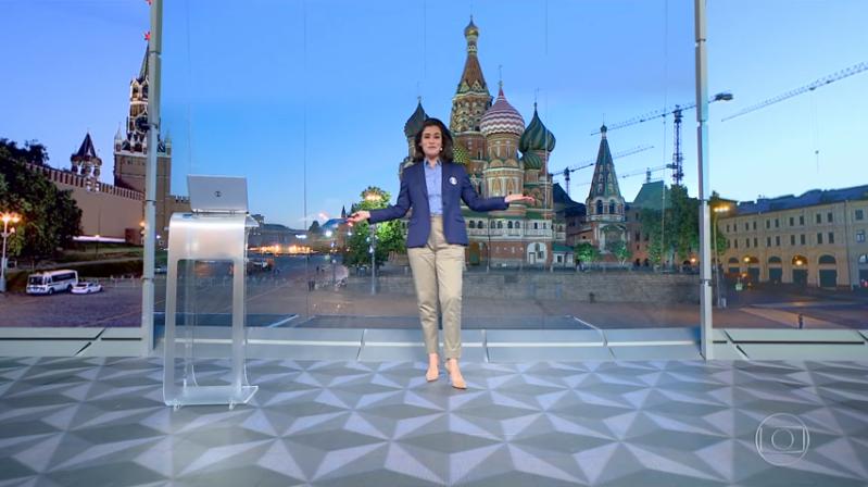 Renata Vasconcellos no estúdio da Globo na Copa da Rússia (Foto: Reprodução/Globo)