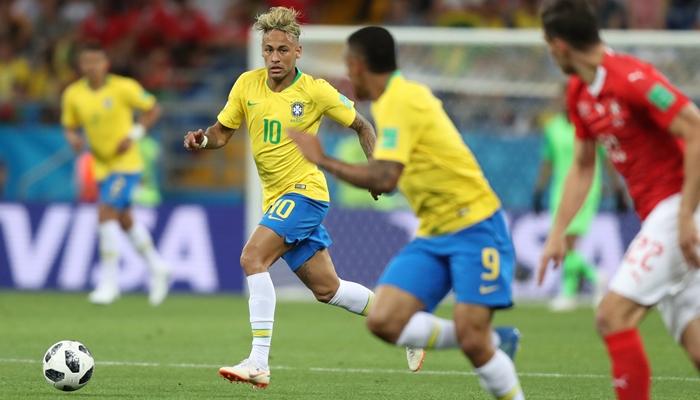 Neymar na partida Brasil x Suíça na estreia do Brasil na Copa da Rússia<br /> (Foto: Lucas Figueiredo/CBF)