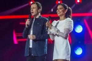 Tiago Leifert e Mariana Rios durante o lançamento da edição 2018 do The Voice Brasil (Foto: Globo/Raquel Cunha)