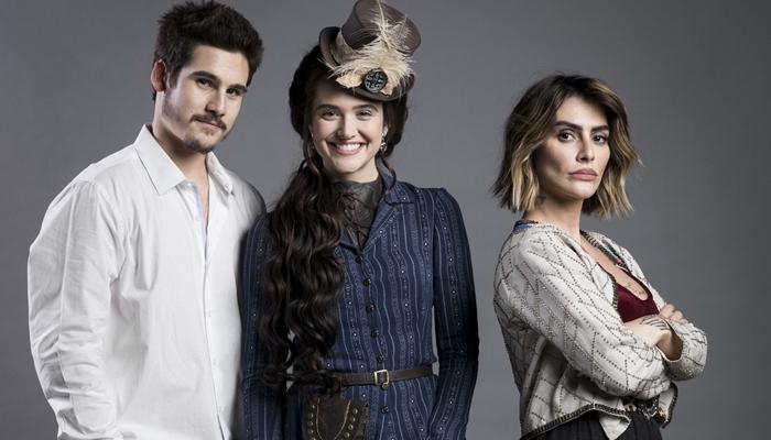 Nicolas Prattes (Samuca), Juliana Paiva (Marocas) e Cleo (Betina) em O Tempo Não Para (Foto: Globo/João Miguel Júnior)