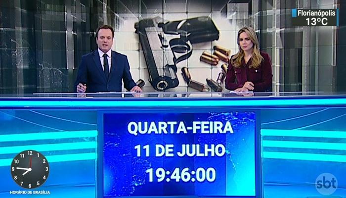 Marcelo Torres e Rachel Sheherazade no comando do SBT Brasil (Foto: Reprodução/SBT)