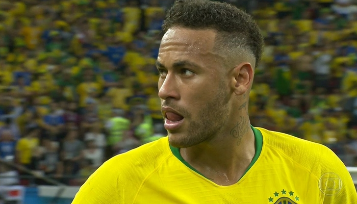 Neymar no jogo entre Brasil x Bélgica na Copa do Mundo na Rússia (Foto: Reprodução/Globo)