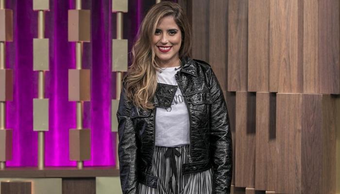 Camilla Camargo durante participação no Programa do Porchat (Foto: Edu Moraes/Record)