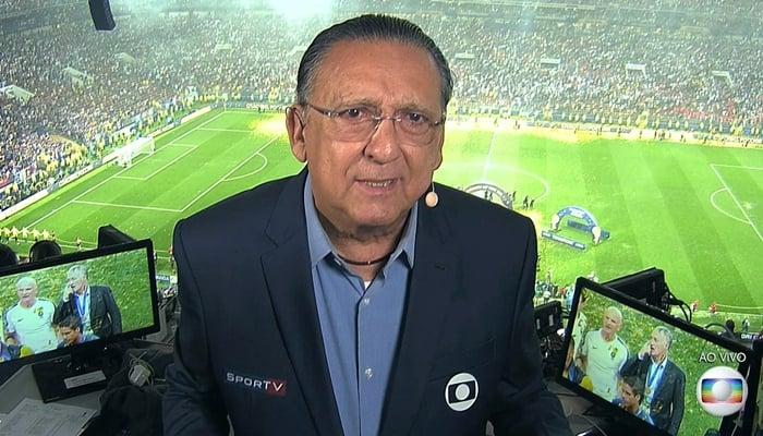 Galvão Bueno na transmissão da final da Copa do Mundo da Rússia (Foto: Reprodução/Globo)