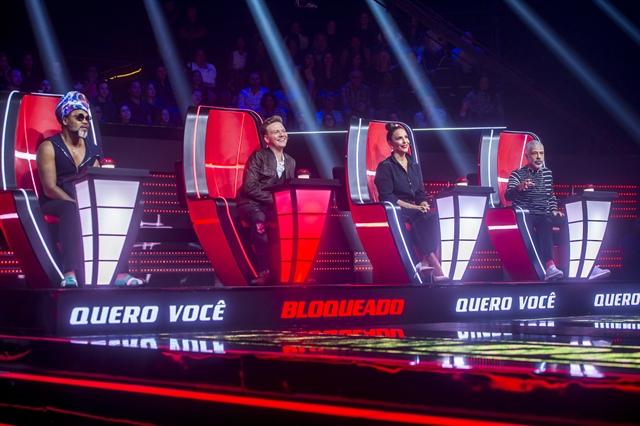 Carlinhos Brown, Michel Teló, Ivete Sangalo e Lulu Santos no lançamento do The Voice Brasil 2018 (Foto: Globo/Raquel Cunha)
