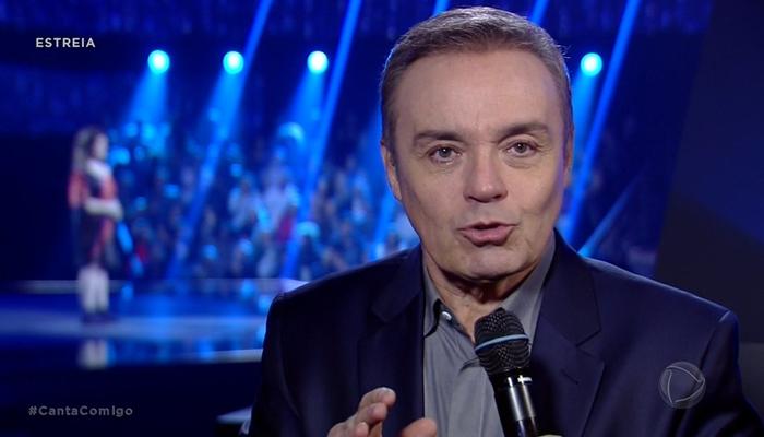 Gugu Liberato na estreia do Canta Comigo (Foto: Reprodução/Record)