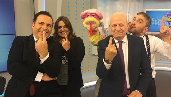 Reinaldo Gottino, Fabíola Reipert e Renato Lombardi no quadro A Hora da Venenosa (Foto: Reprodução/Instagram)