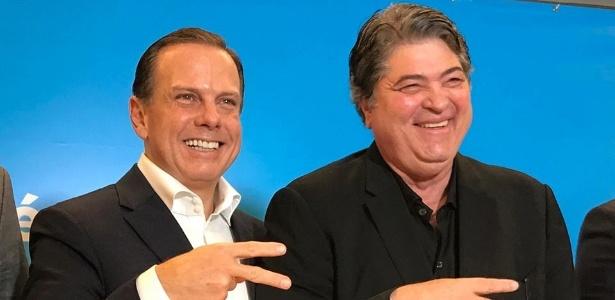 O ex-prefeito de SP João Dória (PSDB) e José Luiz Datena (DEM) durante lançamento de candidatura (Foto: Reprodução/Facebook)