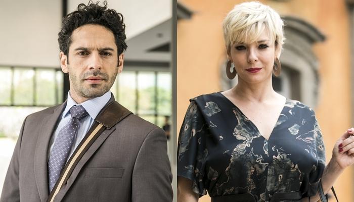 Emílio (João Baldasserini) e Mariacarla (Regiane Alves) em O Tempo Não Para (Foto: Globo/João Miguel Júnior)