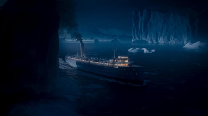 O navio Albatroz em cena do naufrágio em O Tempo Não Para (Foto: Reprodução/Globo)