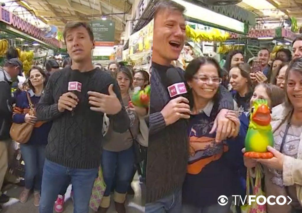Ana Maria Braga precisou fazer uma intervenção para que o repórter conseguisse terminar o link ao vivo (Foto reprodução)