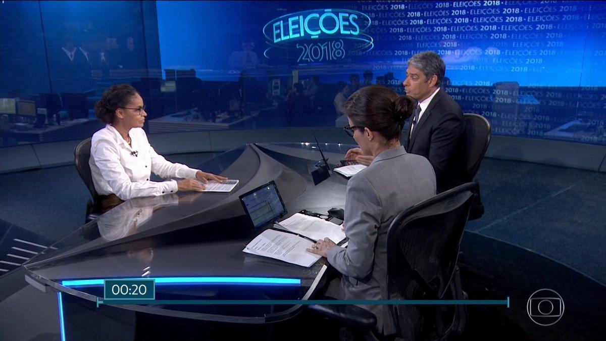 Marina Silva no Jornal Nacional (Foto: Divulgação)