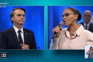 Embate entre Jair Bolsonaro e Marina Silva no 3º bloco foi maior destaque do debate da RedeTV! (Foto: Reprodução/RedeTV!)