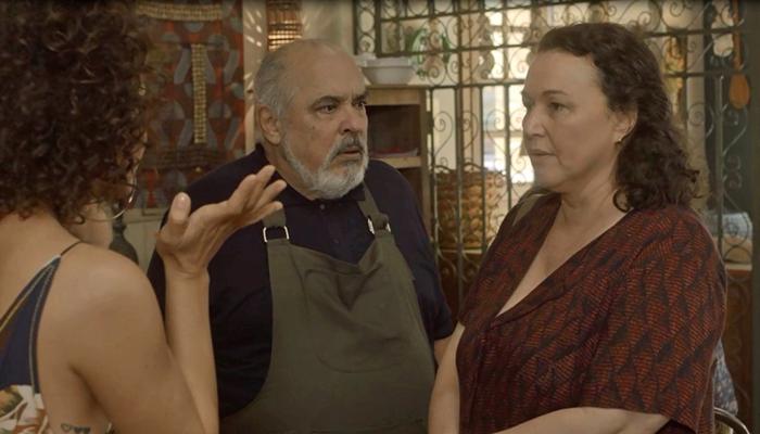 Cacau (Fabiula Nascimento),Agenor (Roberto Bonfim) eNice(Kelzy Ecard) em Segundo Sol (Foto: Divulgação/Globo)