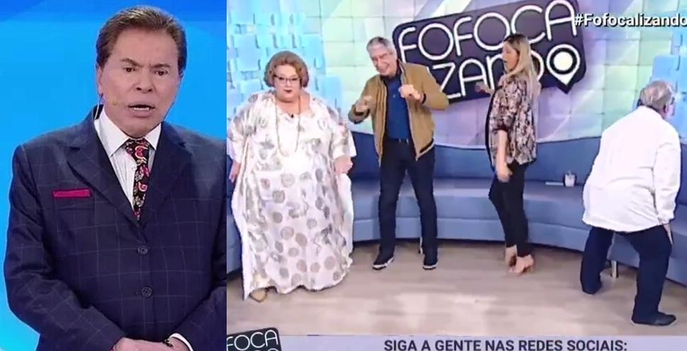 Silvio Santos e os apresentadores do Fofocalizando (Foto: Reprodução)