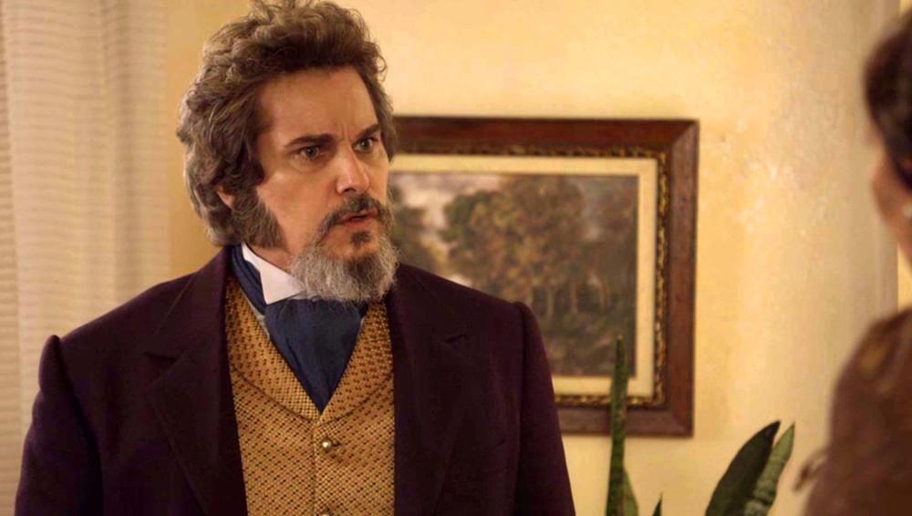 Dom Sabino (Edson Celulari) em cena de O Tempo Não Para (Foto: Divulgação/Globo)