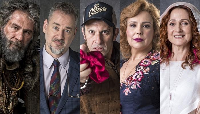 Leopoldo Pacheco, Dan Stulbach, Milhem Cortaz, Ana Beatriz Nogueira e Zezé Polessa em O Sétimo Guardião (Foto: Globo/João Cotta)