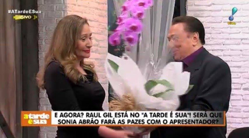 Sonia Abrão recebe Raul Gil (Foto: Reprodução)