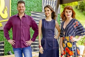 Carlos Bertolazzi, Chris Flores e Danielle Dahoui no BBQ Brasil (Foto: Gabriel Cardoso/SBT)
