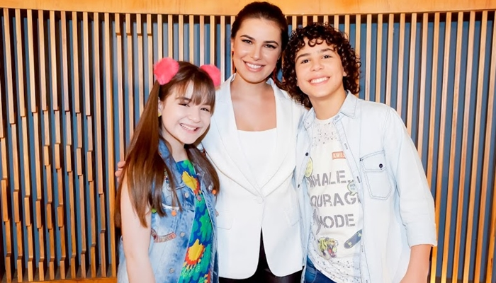 Sophia Valverde, Thaís Melchior e Igor Jansen na coletiva sobre As Aventuras de Poliana (Foto: Gabriel Cardoso/SBT)