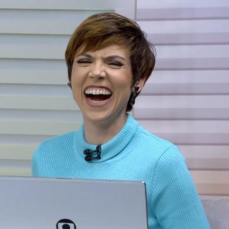 Glória Vanique aos risos no Bom Dia São Paulo da Globo (Foto: Reprodução)