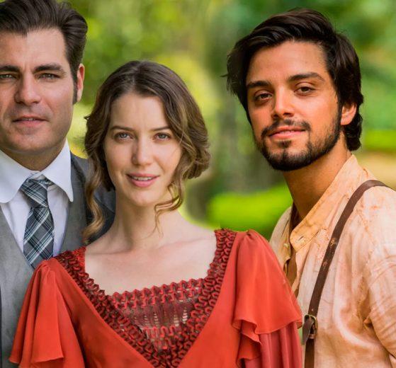 Darcy (Thiago Lacerda), Elisabeta (Nathalia Dill) e Ernesto (Rodrigo Simas) (Foto: Reprodução)