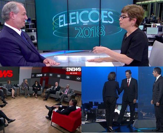 Ciro no Jornal da Globo; Bolsonaro no Central das Eleições e Haddad no Jornal Nacional (Foto: Reprodução/GloboNews/Globo/Montagem/TV Foco)