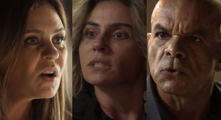 Laureta (Adriana Esteves), Luzia (Giovanna Antonelli) e Galdino (Narcival Rubens) em Segundo Sol (Foto: Reprodução/Globo/Montagem TV Foco)