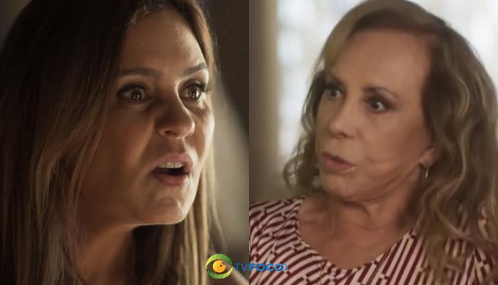 Laureta (Adriana Esteves) e Naná (Arlete Salles) em Segundo Sol (Foto: Reprodução/Globo/Montagem)