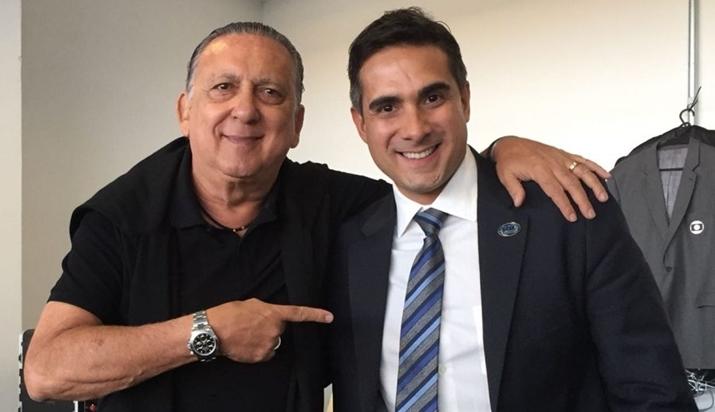 Galvão Bueno ao lado de Gustavo Villani (Foto: Arquivo pessoal/Gustavo Villani)