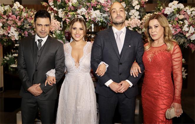 Foto do mais recente encontro de Zilu e Zezé no casamento de filha Camila (Foto: Reprodução)