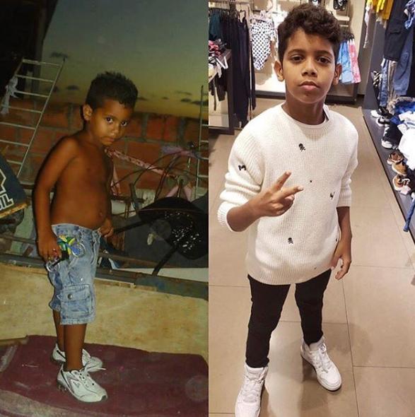 Dono do hit 'Jogo do Amor', Bruninho publicou um antes e depois no Instagram. (Foto: Reprodução)