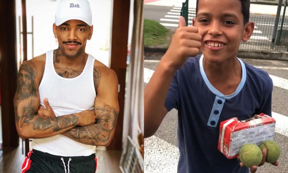 Carro de Nego do Borel foi cercado por garotinho, que pedia por dinheiro. (Foto: Reprodução/Montagem/ TV Foco)