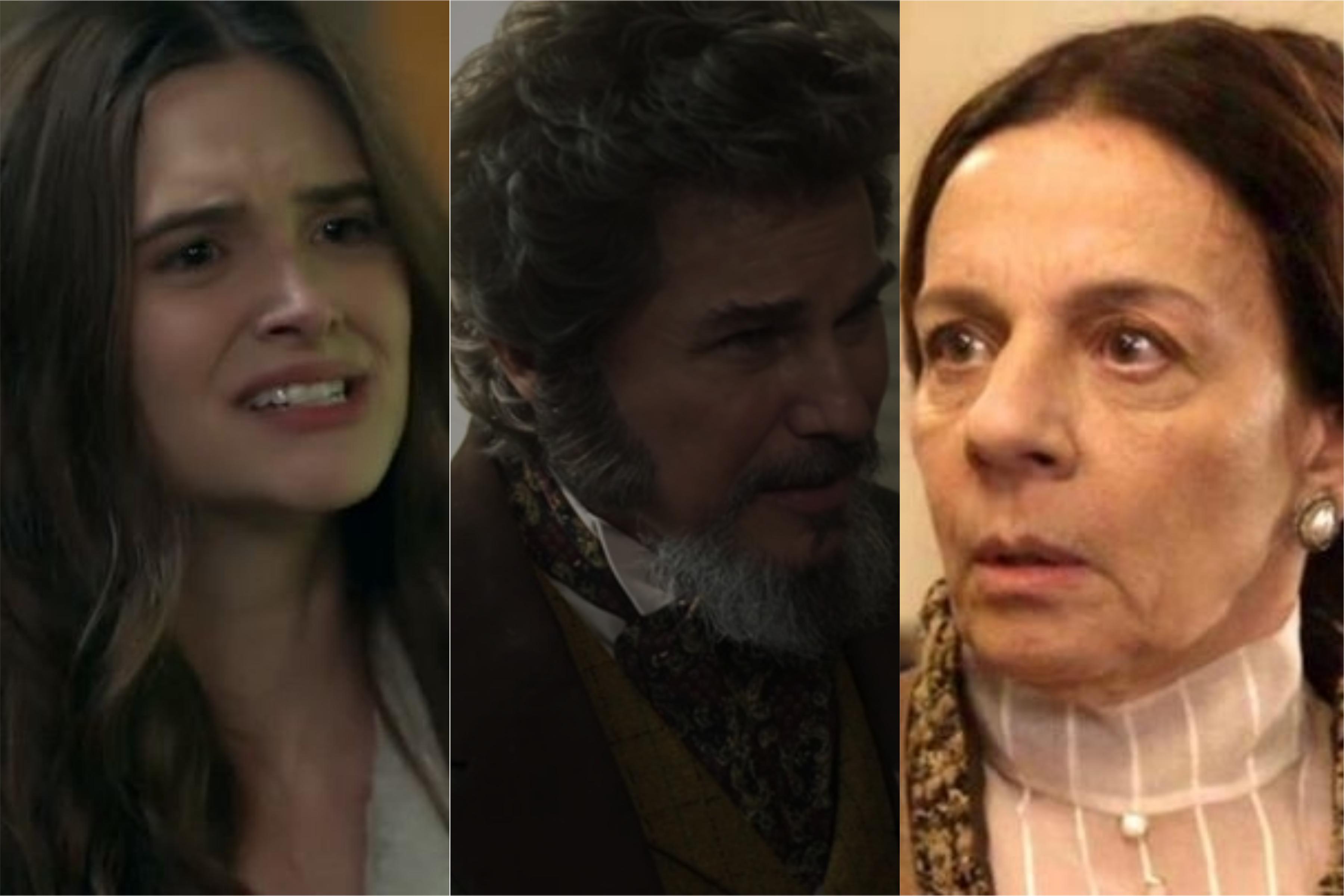Marocas (Juliana Paiva), Sabino (Edson Celulari) e Agustina (Rosi Campos) em O Tempo Não Para (Foto: Reprodução / Montagem: TV FOCO