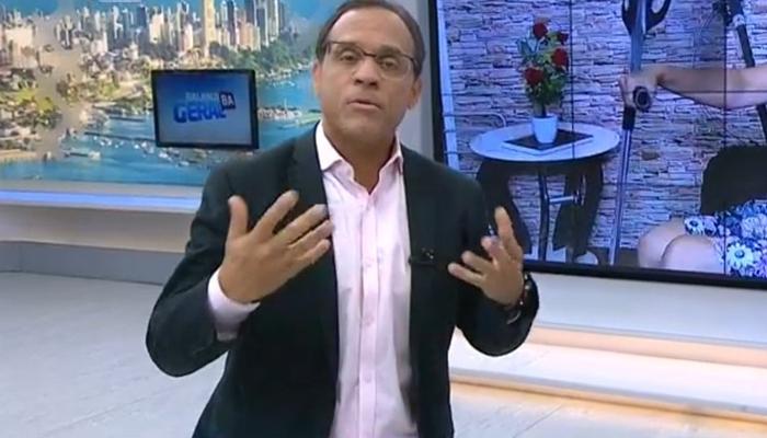 O apresentador José Eduardo Bocão no comando doBalanço Geral BA (Foto: Reprodução/Record)