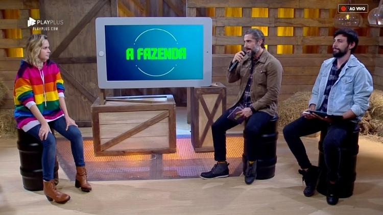 Ana Paula foi entrevistada por Marcos Mion após sua eliminação (Foto: Reprodução/PlayPlus)