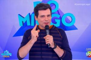 Celso Portiolli no Domingo Legal; apresentador revelou conversa que teve com Silvio Santos (Foto: Reprodução/SBT)