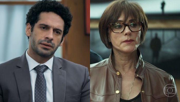 Emílio (João Baldasserini) eCarmen (Christiane Torloni) em O Tempo Não Para (Foto: Reprodução/Globo)