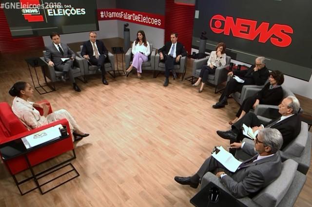 Comentaristas da GloboNews na Central das Eleições (Foto: Reprodução)