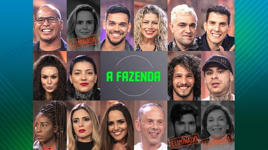 """Os participantes do reality show rural """"A Fazenda 10"""" Imagem: Montagem"""