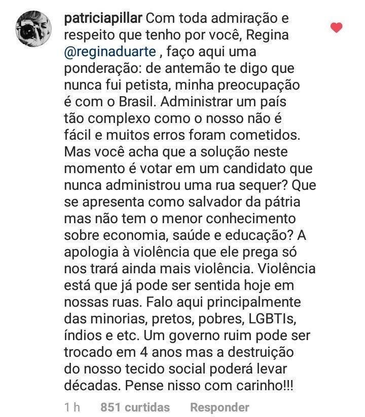 Resposta de Patrícia Pillar à postagem de Regina Duarte. (Foto: Reprodução)