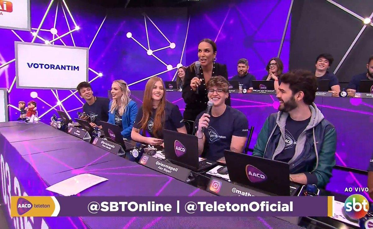 Ivete Sangalo interage com os influenciadores digitais no Teleton (Foto: Reprodução)