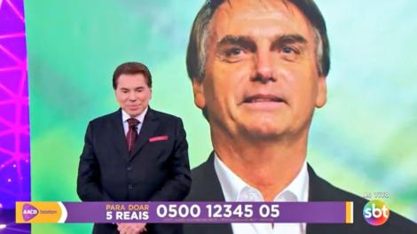 Silvio Santos recebeu ligação telefônica de Bolsonaro no Teleton 2018 (Foto: Reprodução/SBT)