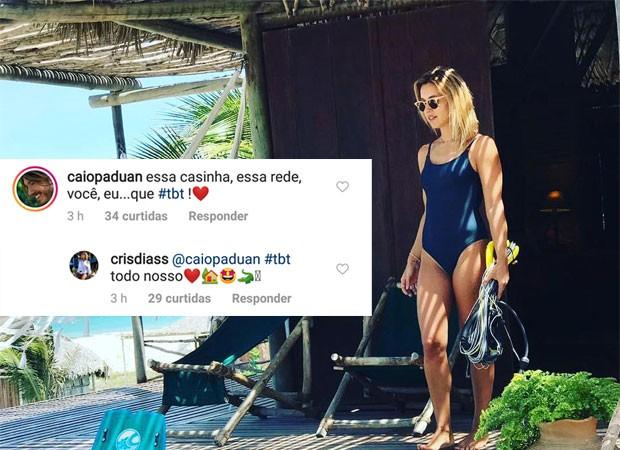 Cris Dias e Caio Paduan trocam declarações (Foto: Reprodução)
