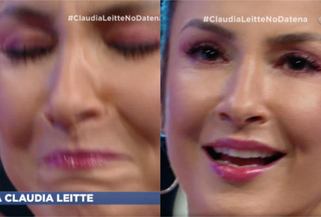 Claudia Leitte se emocionou durante o Agora é Domingo de Datena na Band