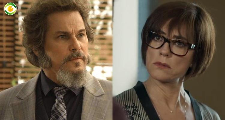 Dom Sabino e Carmen em O Tempo Não Para (Foto: Montagem/TV Foco)